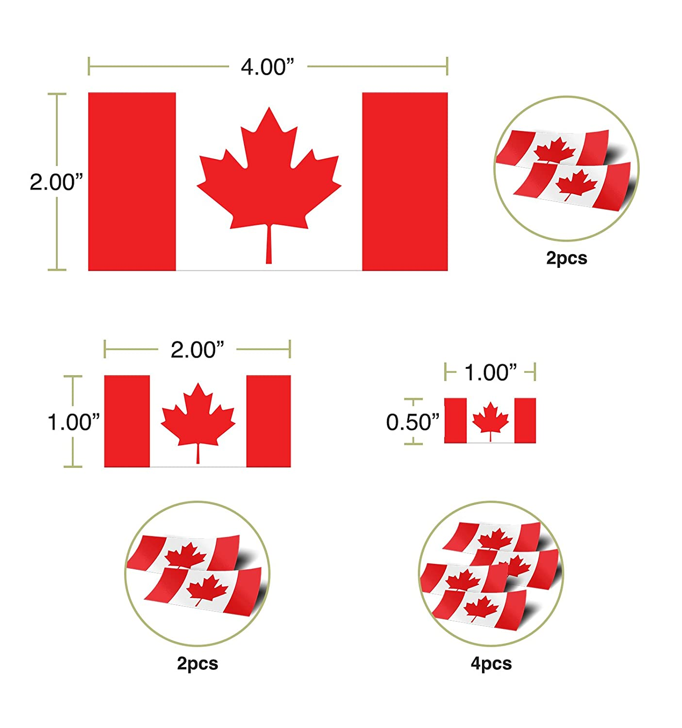 Canada Canadian Country Flag Sticker Decal Variety Size Pack 8 Total Pieces Kids Logo Scrapbook Car Vinyl Window Bumper Laptop V Desert Cactus