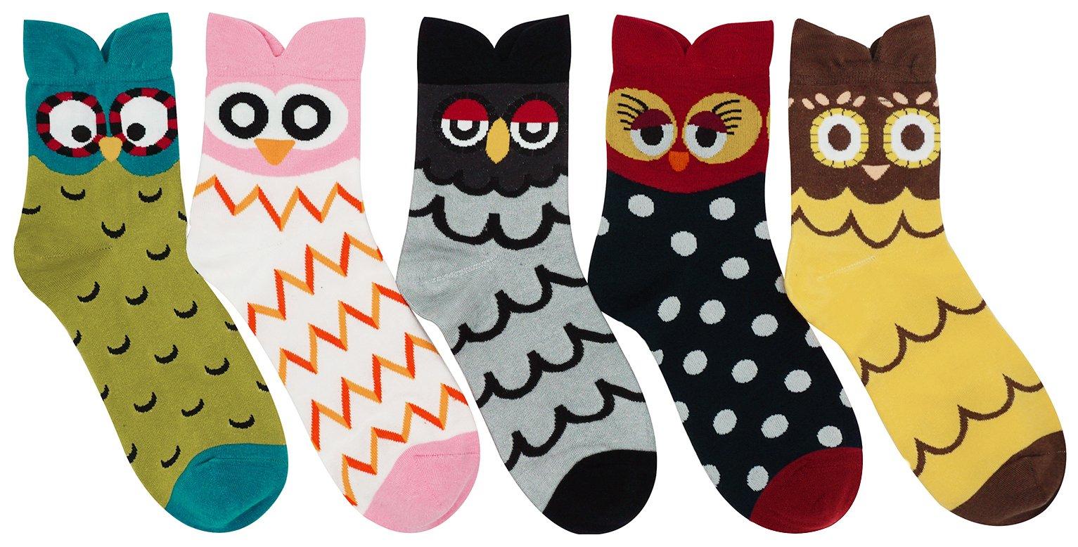 Women's Lady's Cute Owl Design Cotton Socks,5 Pairs Multi Color One Size by Bienvenu (Image #3)