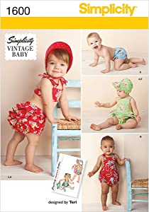 Simplicity 1600 Vintage Baby Romper Sewing Patterns, Sizes XXS-L
