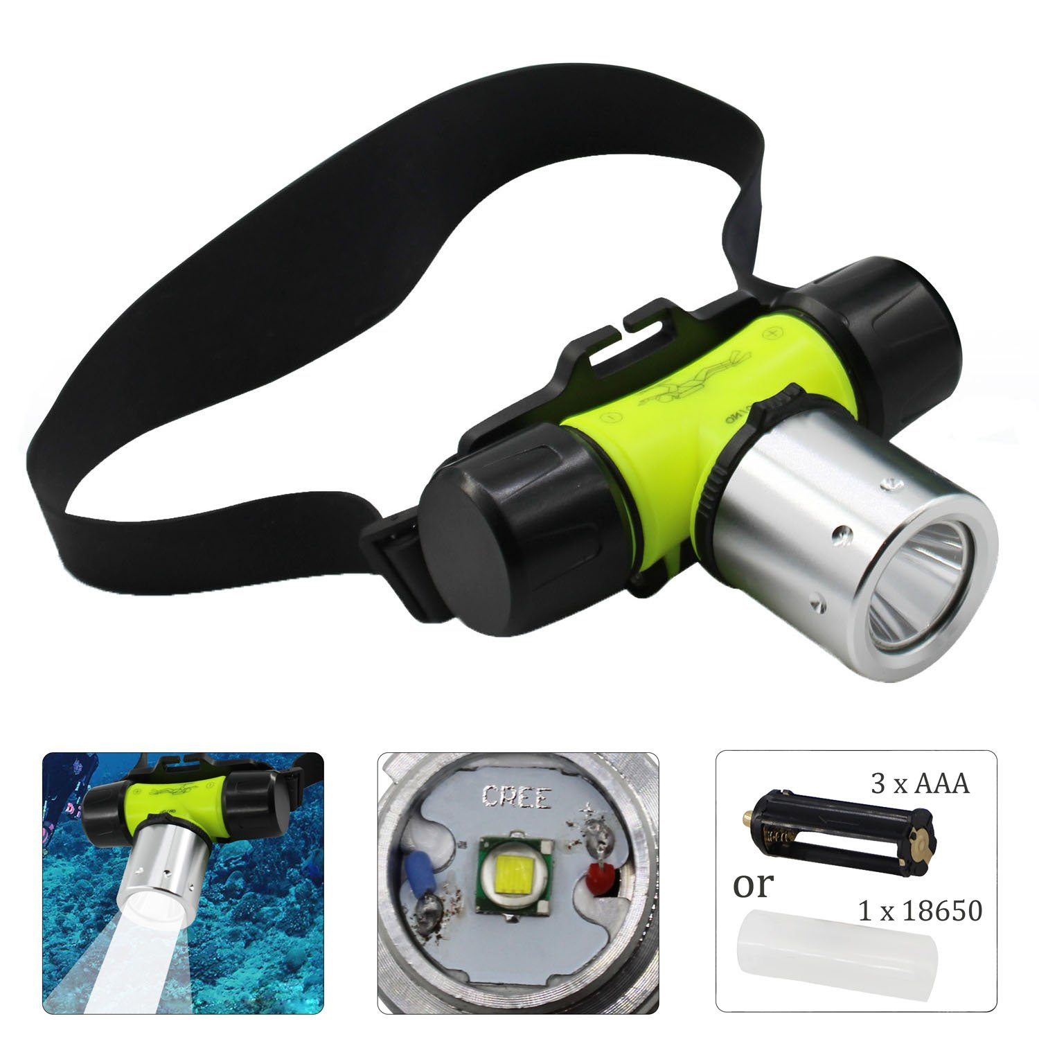 JSHANMEI Underwater Diving Headlamp, Waterproof LED Flashlight, Submarine Head Light CREE T6 AAA/18650 Headlight for Fishing Swimming Camping Hunting Hiking Cycling Outdoor Sports (NO Batteries)