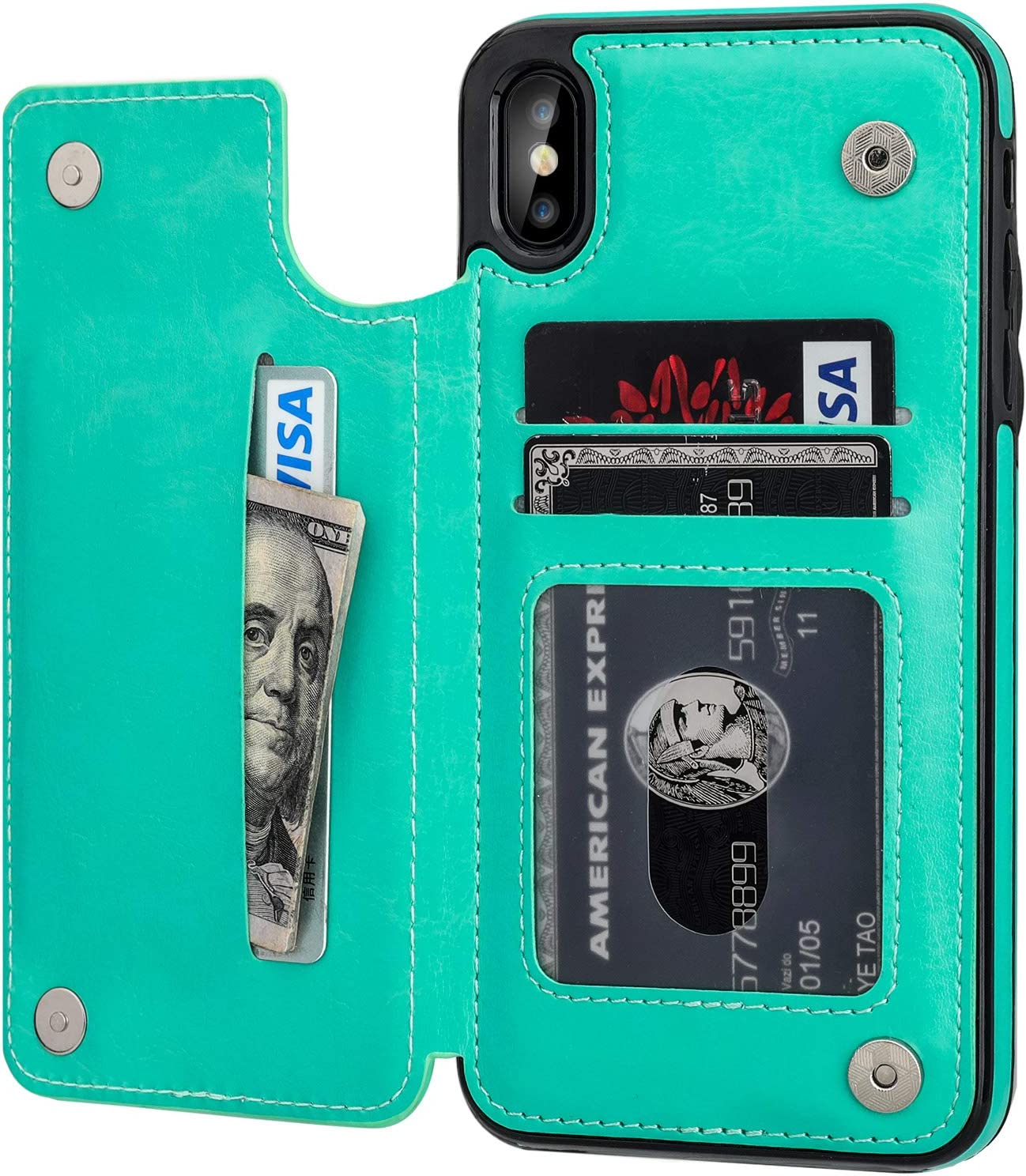 "iPhone Xs Max Wallet Case with Card Holder,OT ONETOP Premium PU Leather Kickstand Card Slots Case,Double Magnetic Clasp and Durable Shockproof Cover 6.5 Inch (iPhone Xs Max 6.5"" Green)"