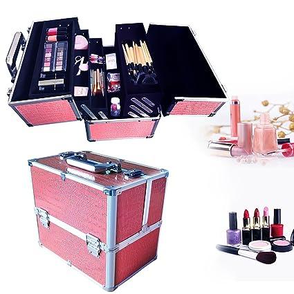 Estuche organizador de maquillaje, de la marca WarmieHomy rosa