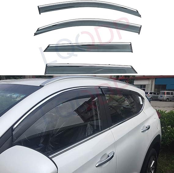 LQQDP - 4 piezas de tinte de humo con cinta de montaje exterior cromada de PVC, para ventanas de ventilación o parasoles, para Hyundai Tucson de 16 – ...