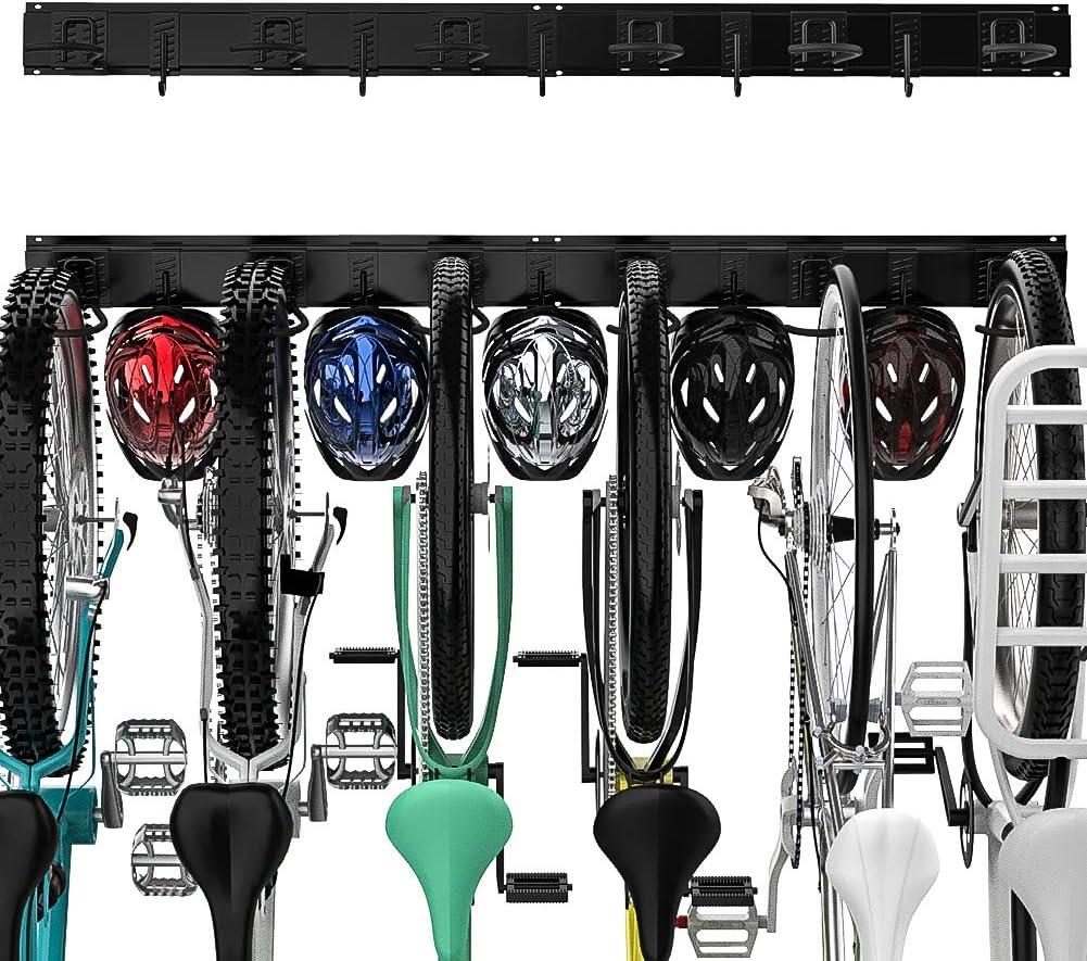 TORACK Bike Storage Rack for 6 Bicycles + 5 Helmets, Heavy Duty Bike Hanger Holds Up to 600lbs Fits Most Bikes