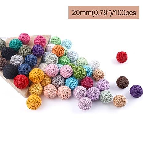 baby tete Crochet de madera cubrió la bola de la mezcla del color de los granos 20m m / 100Pcs Decoración Dentro de Crochet de madera de la dentición ...