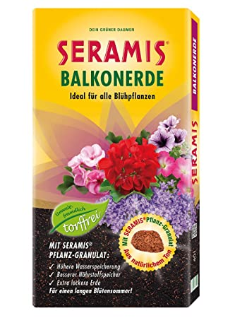 Seramis Balcón de Flores Tierra sin turba 40 litros Saco Maceta granulado Tierra