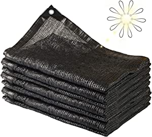 NUFR Shade Cloth 70% Sunblock for Plants Greenhouse Cover 6.5ft x10ft Fabric Net Mesh Tarp Sunshade Sunscreen UV Resistant Netting with Grommets for Garden Patio Lawn Outdoor,10pcs Ball Bungees-Black