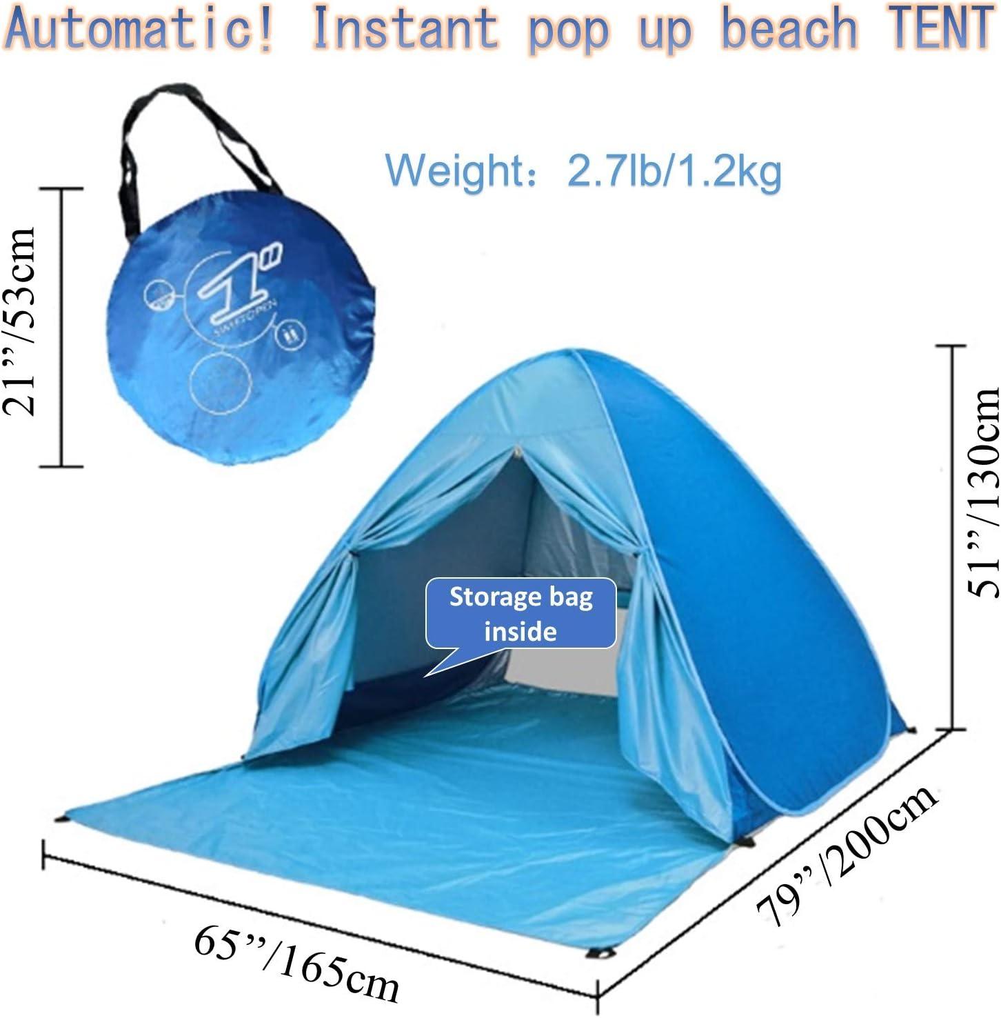 2~4 Personas Voniry port/átil autom/ática Surge la Tienda de Playa Bien ventilada al Aire Libre contra los Rayos UV Sun del Refugio con la Cremallera de la Puerta Azul