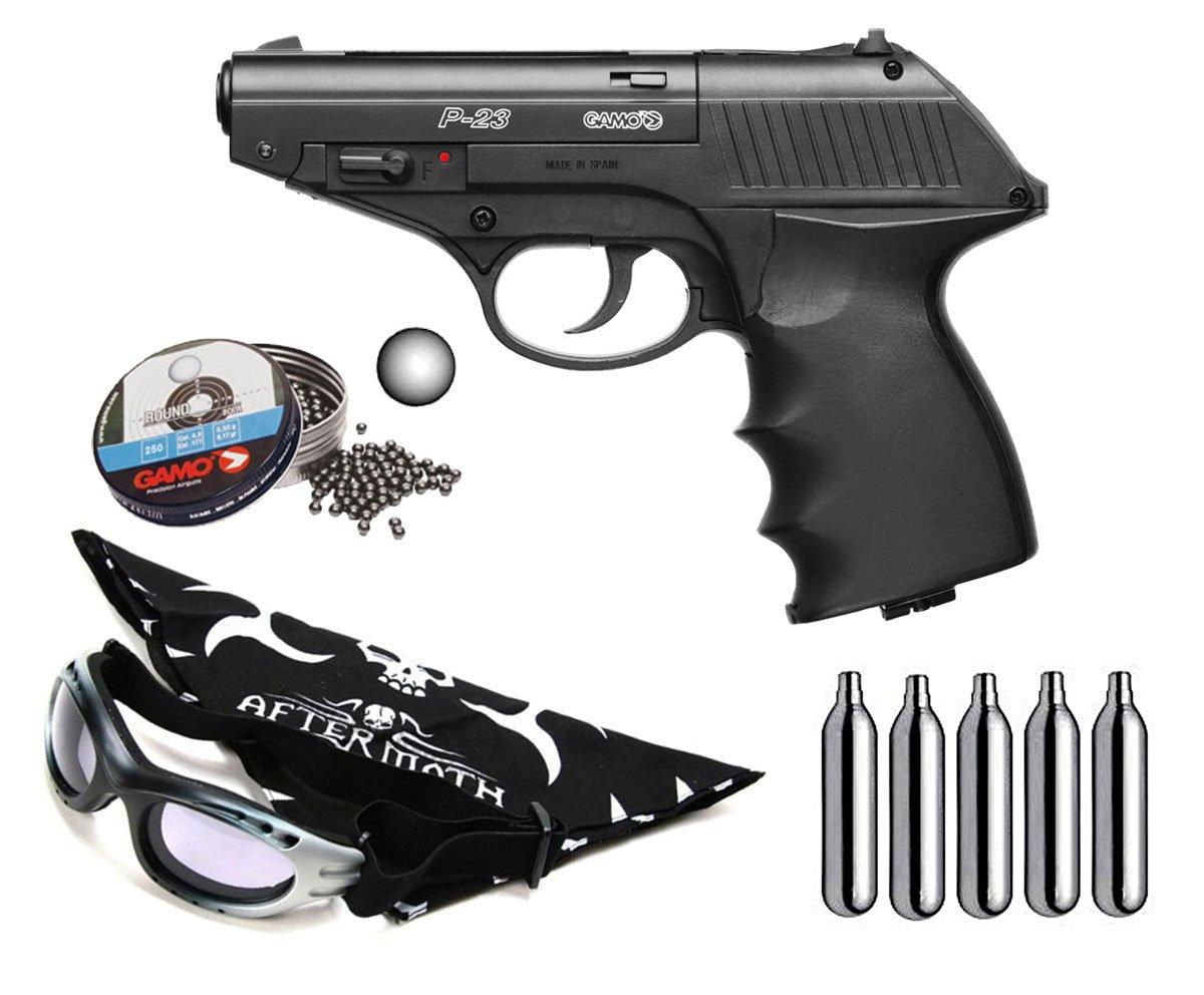Pack Pistola perdigon Gamo P-23 Combat 4, 5mm. Potencia 3, 5 Julios + Gafas antivaho + Pañuelo cabeza decorado + Balines + Bombonas co2
