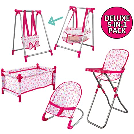 Plastic Doll Rocking Cradle Cot Bed Kids Pretend Role Play Game Accessories