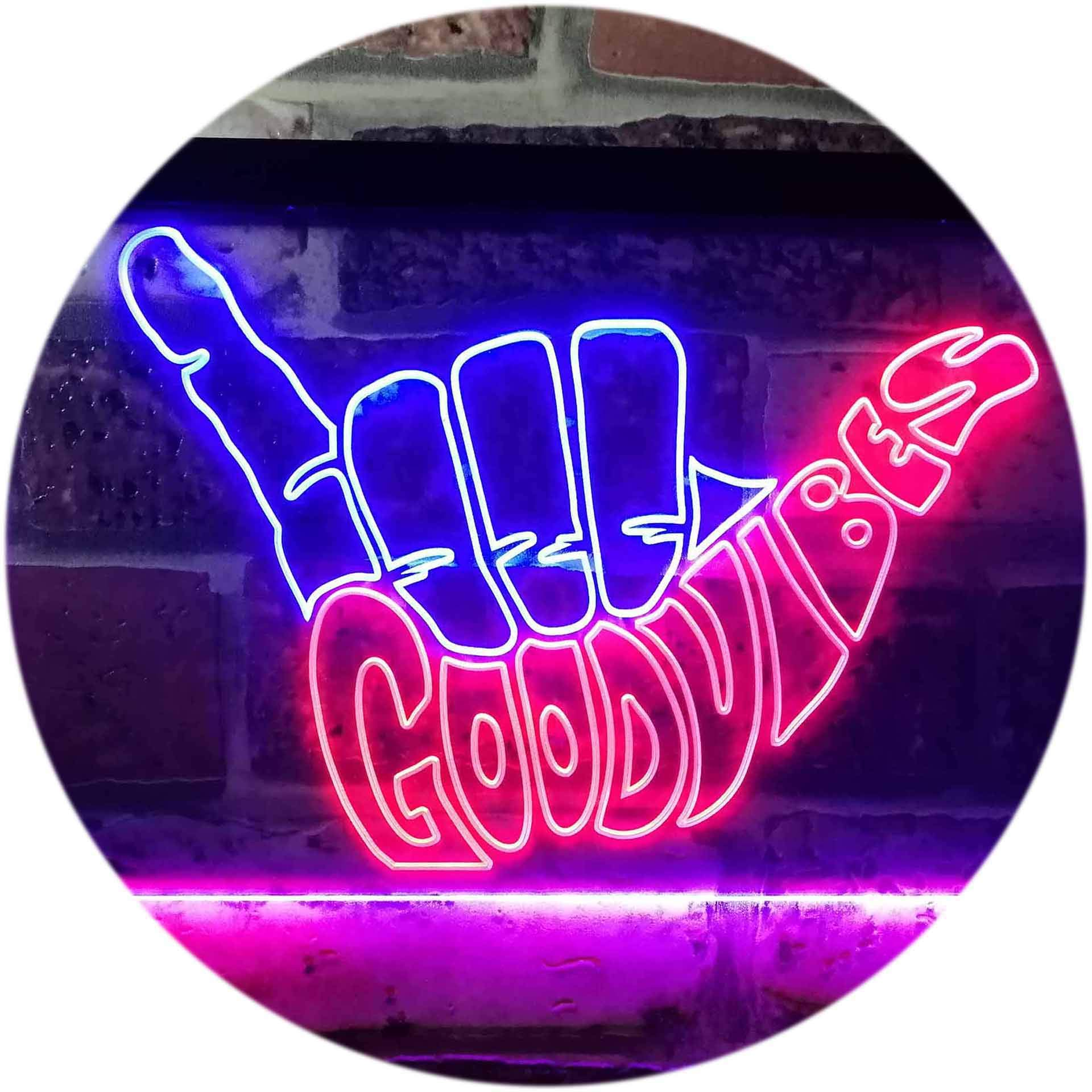 ADVPRO Good Vibes Only Hand Party Decoration Dual Color LED Neon Sign Red & Blue 16'' x 12'' st6s43-i1076-rb