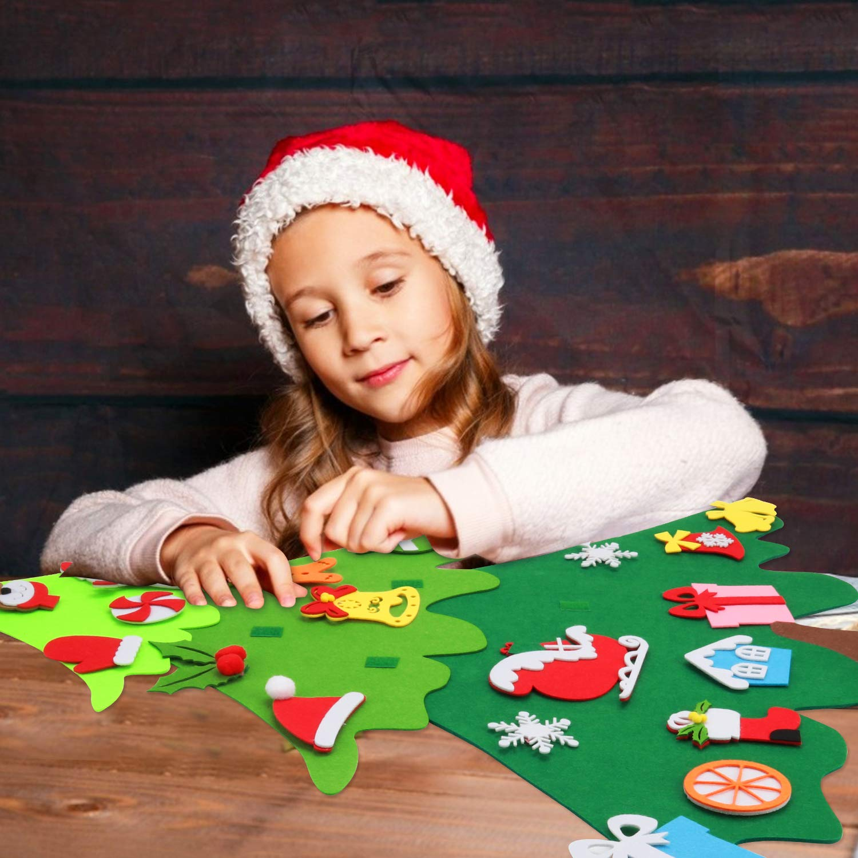 Joyibay Filz Weihnachtsbaum Kinder, DIY Filz Weihnachtsbaum 3.2 FT Dekoration Weihnachtsbaum aus Filz Ornamenten Weihnachten Set Ornamenten Hängenden Seil Für Home Tür Wand Dekoration
