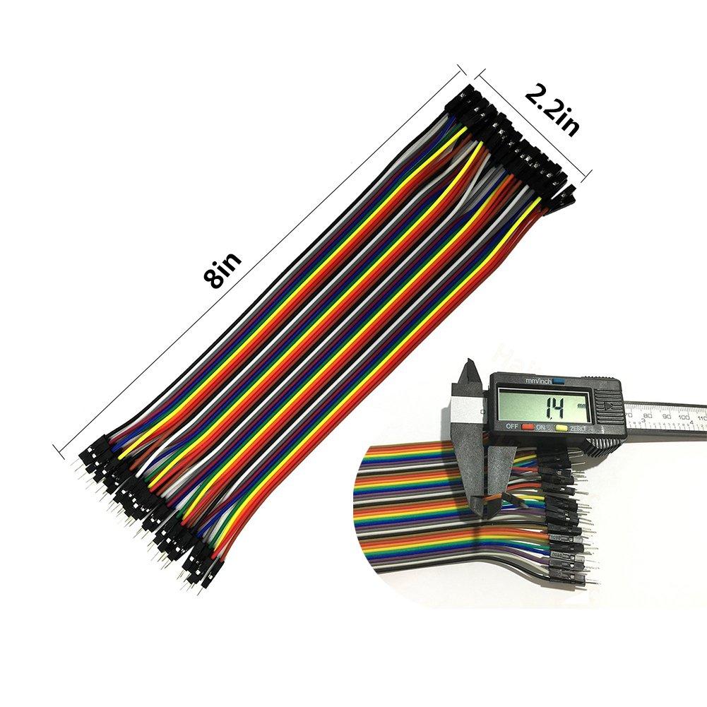 DSD Tech 120/piezas de conectores de alambre de puente Dupont y 4/piezas de conector hembra de una l/ínea 40 PIN macho de 2,54 mm