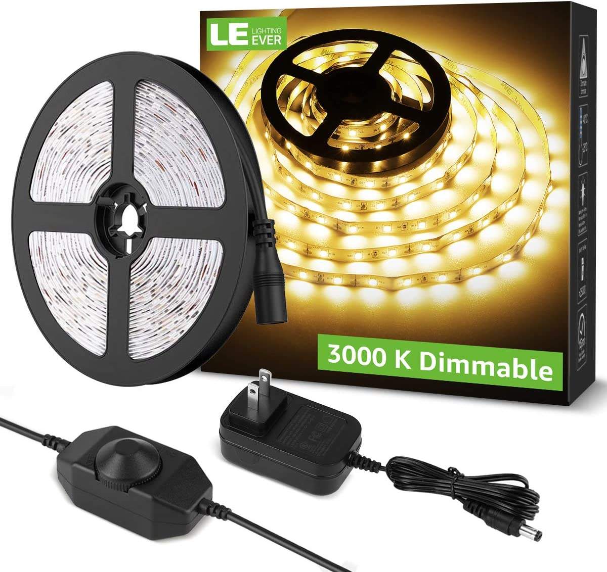 LE LED Strip Light White, 16.4ft Dimmable Vanity Lights, 6000K Super Bright LED Tape Lights, 300 LEDs SMD 2835, Strong 3M Adhesive, Suitable for Home, Kitchen, Under Cabinet, Bedroom, Warm White