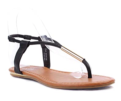 b0028d5bf27a8 weyoh T-Strap Faux Leather Easy Slip On Sexy Womens Flats Sandals Size  Ankle Strappy