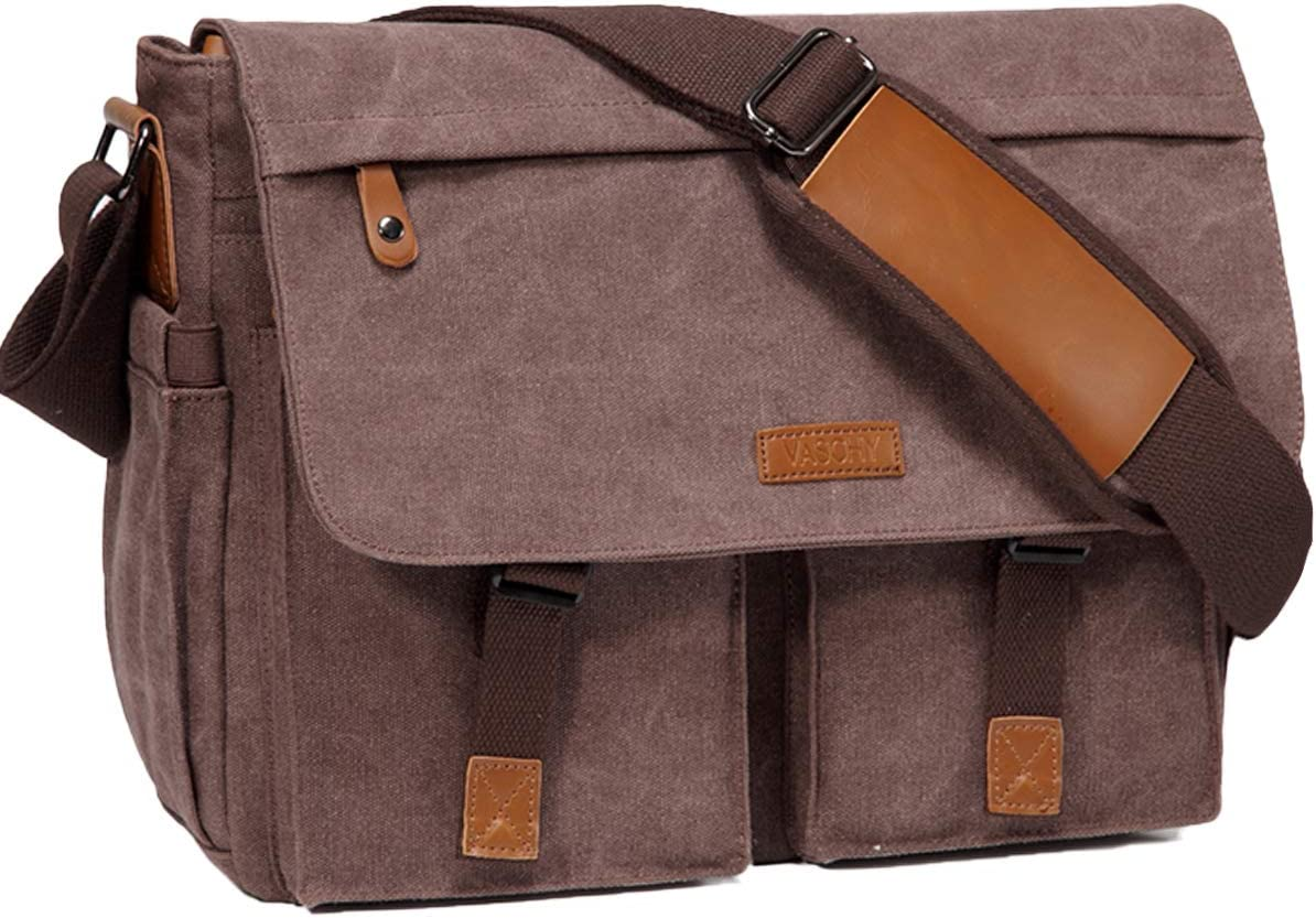 Messenger Bag for Men,Vaschy Water Resistant Canvas 14inch Laptop Shoulder Commuter Bag for Men and Women Coffee
