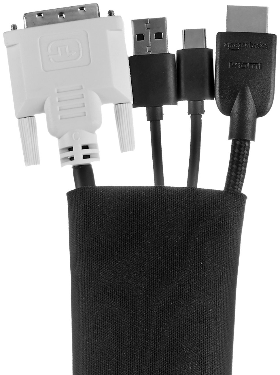 AmazonBasics Cable Sleeve - Zipper, 20-Inch, Black, 4-Pack