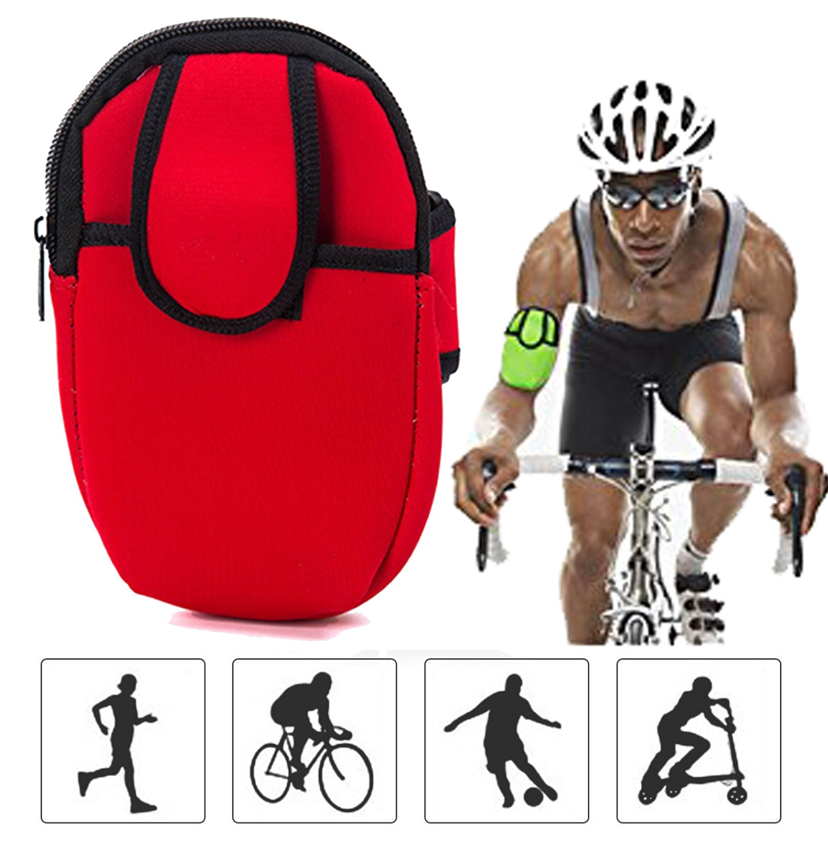 Yonger Outdoors Sports Portable Multifunctional Neoprene Arm Bag Pouch Wrist Wear Gym Running Cycling Smartphone Arm Sleeve Pocket Armband Travel Storage Bag Box (Red) by Yonger