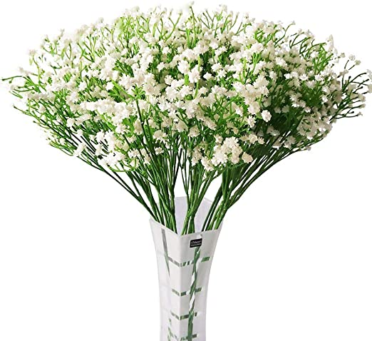 Amazon Com Hantajanss 12 Pcs Baby Breath Gypsophila Artificial Flowers Bouquets Fake Real Touch Flowers For Wedding Party Decoration Diy Home Decor 21 White Kitchen Dining