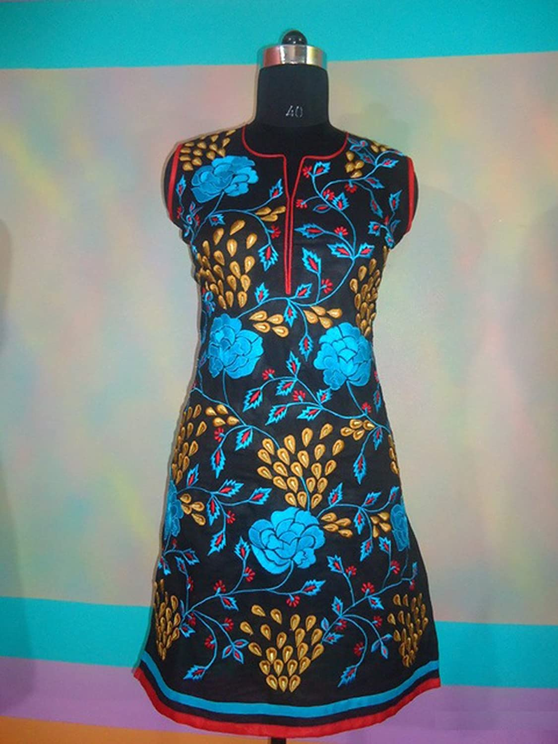 Scoop Neck Black Cotton Tunic Rose Flower Embroidered Dress