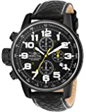 Invicta 3332 Watch Men's Force Collection Stainless Steel Left-Handed with, Black Leather Band