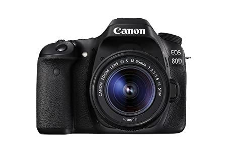 Canon EOS 80D Digital SLR Kit with EF-S 18-55mm f/3.5-5.6 Image Stabilization STM Lens (Black) (International Model) No Warranty Digital SLR Camera Bundles at amazon