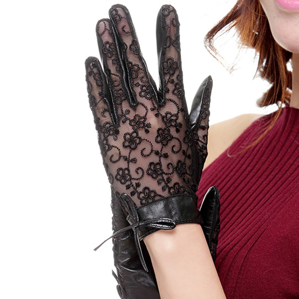 Nappaglo Women's Nappa Leather & Lace Unlined Gloves Bow Decoration Summer Short for Wedding Prom Banquet Party Driving (Small, Black)