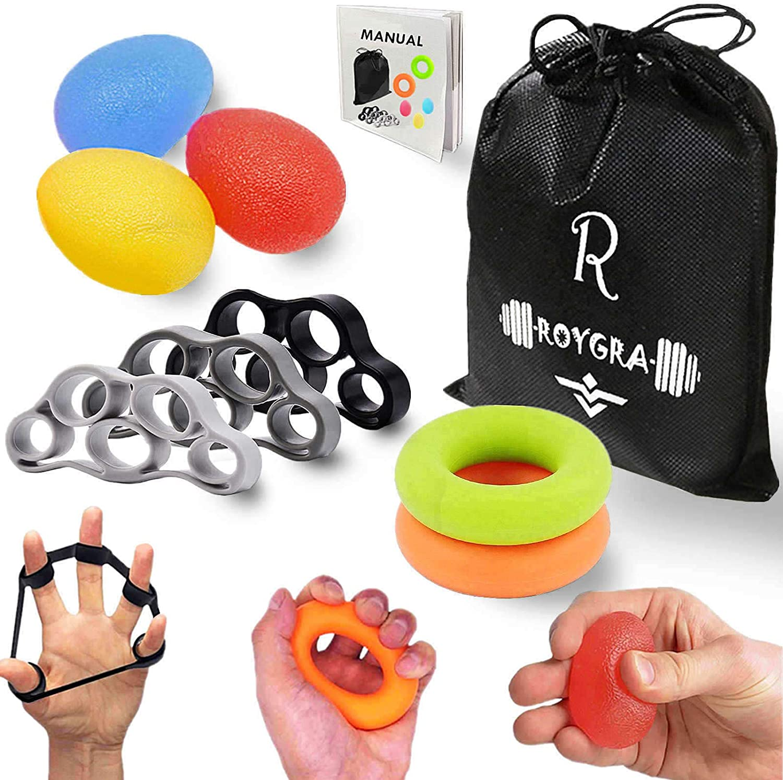 roygra Hand Exerciser, Finger Strengthener, Forearm Trainer, Different Resistance - 8 Pack: Health & Personal Care