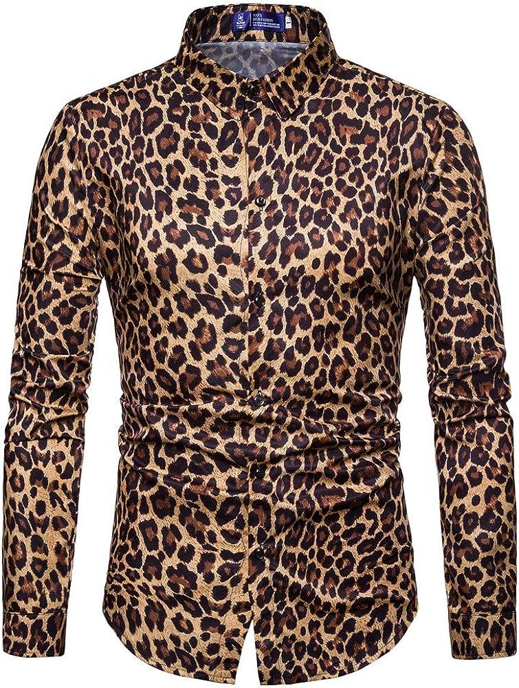 Men Blouse,Dartphew-Mens Fashion Leopard Print Long Sleeve Slim Tops 2019