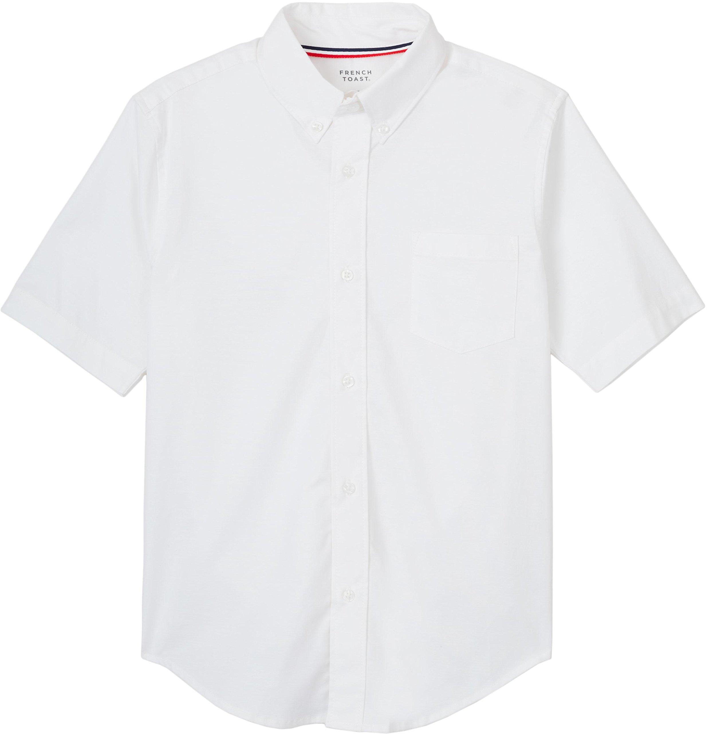 French Toast Big Boys' Short Sleeve Stretch Oxford Shirt, White, 16