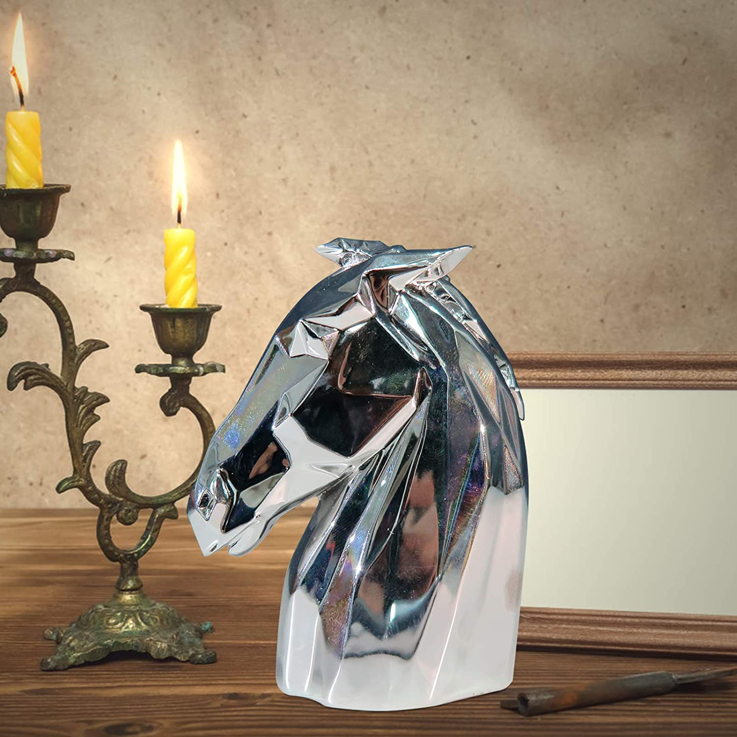LARTISO DECO Creative Modern Style Horse Head Statue Decoration Animal Decoration Sculpture Craft Resin Horse Head Sculpture Art Ornaments Decoration for Office Home Decor, Silver