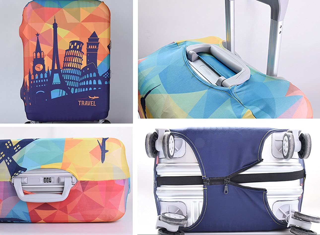 Printed Pattern Travel Luggage Cover Baggage Suitcase Protector Polyester Dustproof Stretchy