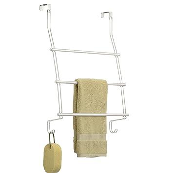 InterDesign Classico Toallero para puerta | Dos barras para toallas para un secado rápido | Toalleros sin tornillos | Metal blanco: Amazon.es: Hogar