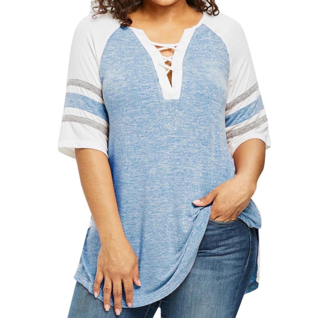 Plus Size Top,Toimoth Women Casual Bandage Patchwork T-Shirt Blouse(Blue,3XL)