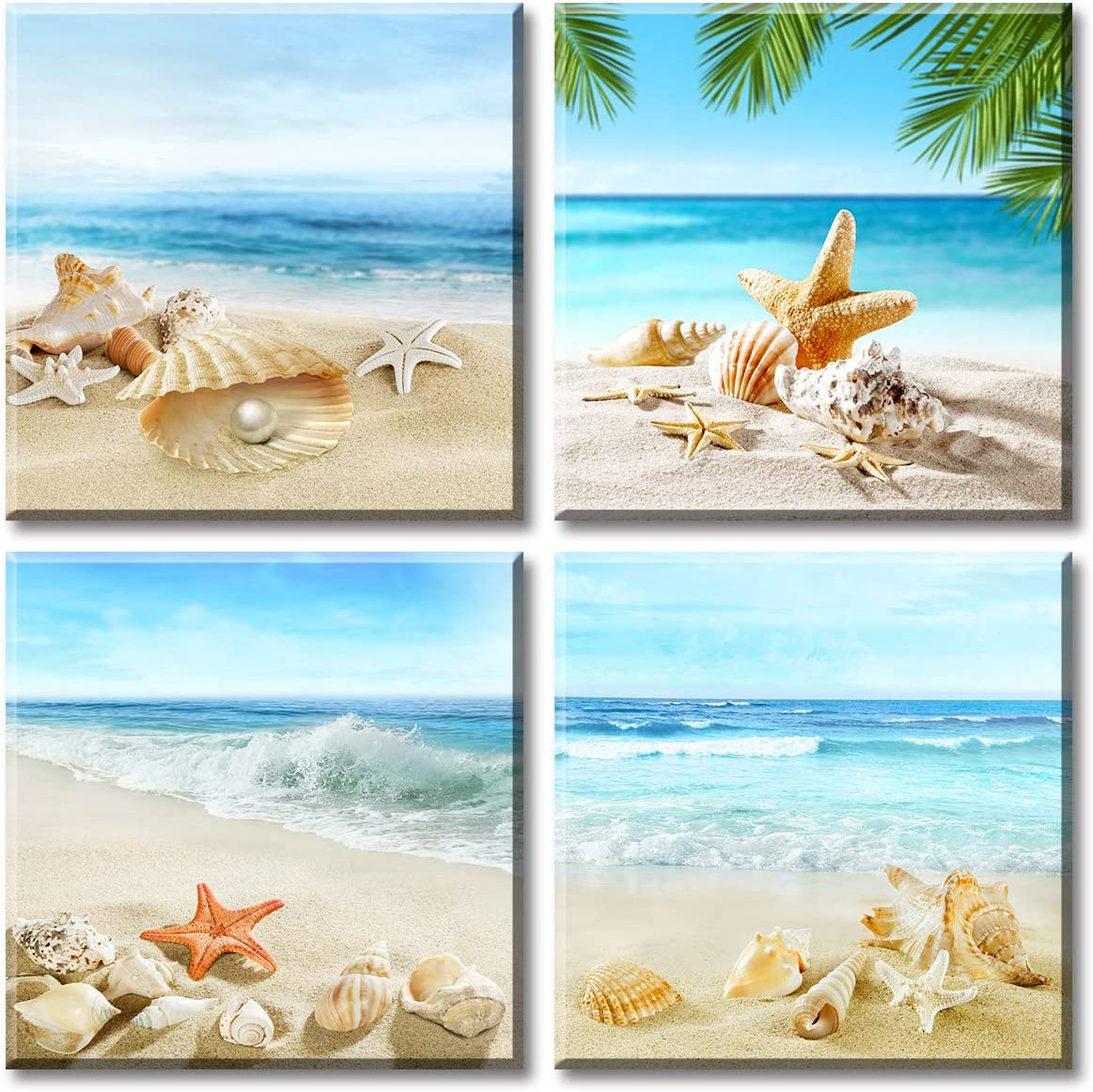 Beach Bathroom Paintings Decor Wall Art Seashell Starfish Nature Canvas Picture Blue Ocean Theme Decorations Posters Contemporary Nautical for Bedroom 12