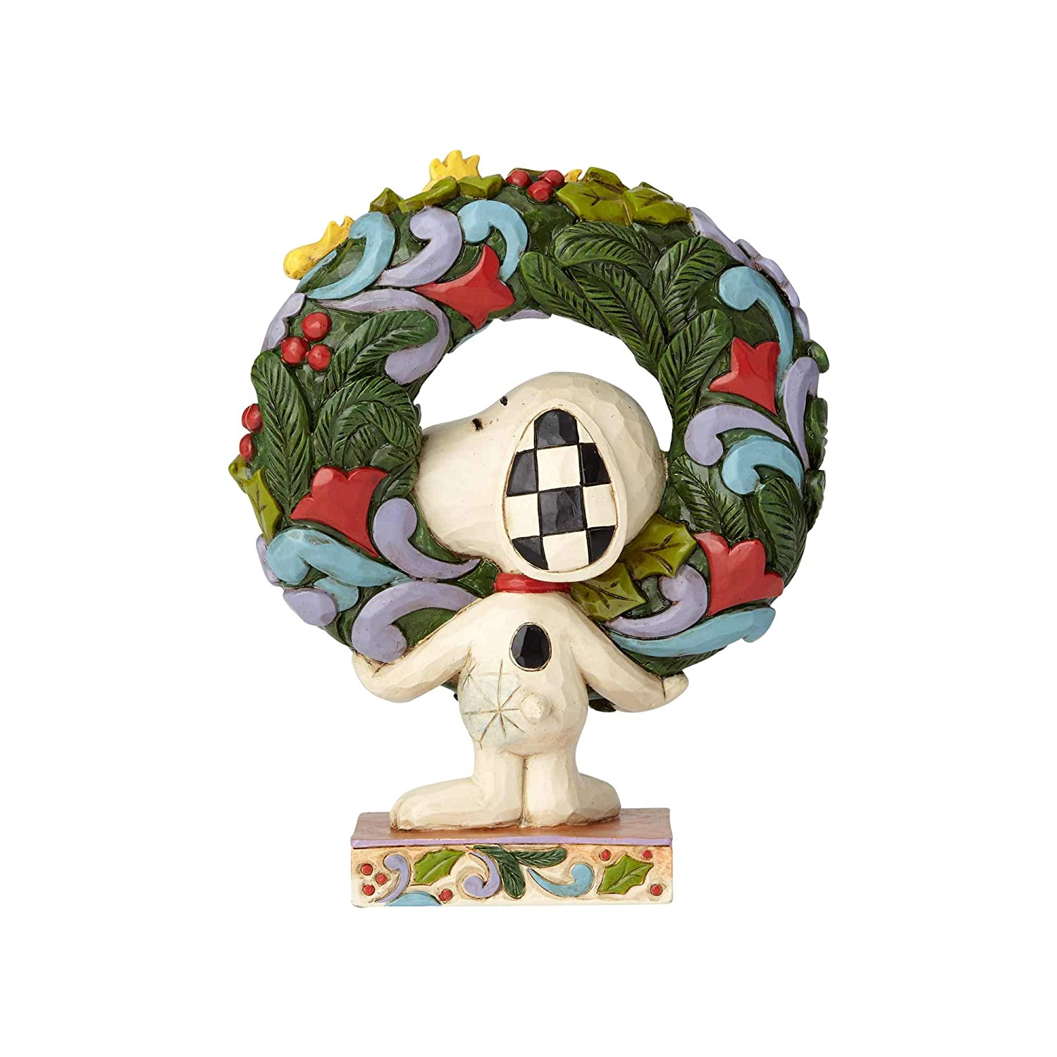 Enesco 6000984 Peanuts by Jim Shore Snoopy with Woodstock Wreath Figurine 5.75 Multicolor