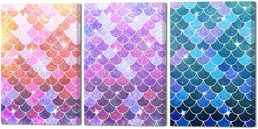 """HOMEOART Fish Scale Wall Art Ocean Theme Mermaid Scale Painting Canvas Prints Framed Living Room Office Wall Decor 16""""x24""""x3 Panels"""
