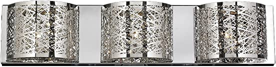Worldwide Lighting Aramis Collection 3 Light Chrome Finish and Clear Crystal Wall Sconce 30″ W x 7″ H Extra Large