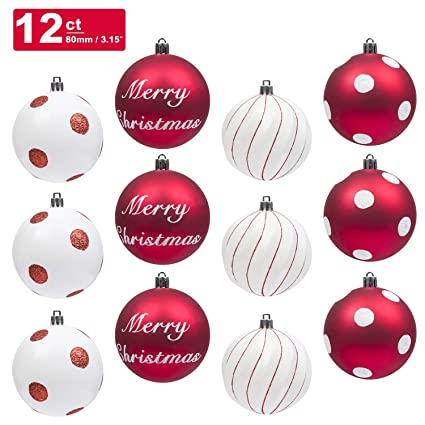 ki store christmas balls ornament 12ct shatterproof 315 inch tree ball red and white polka - Red And Silver Christmas Ornaments