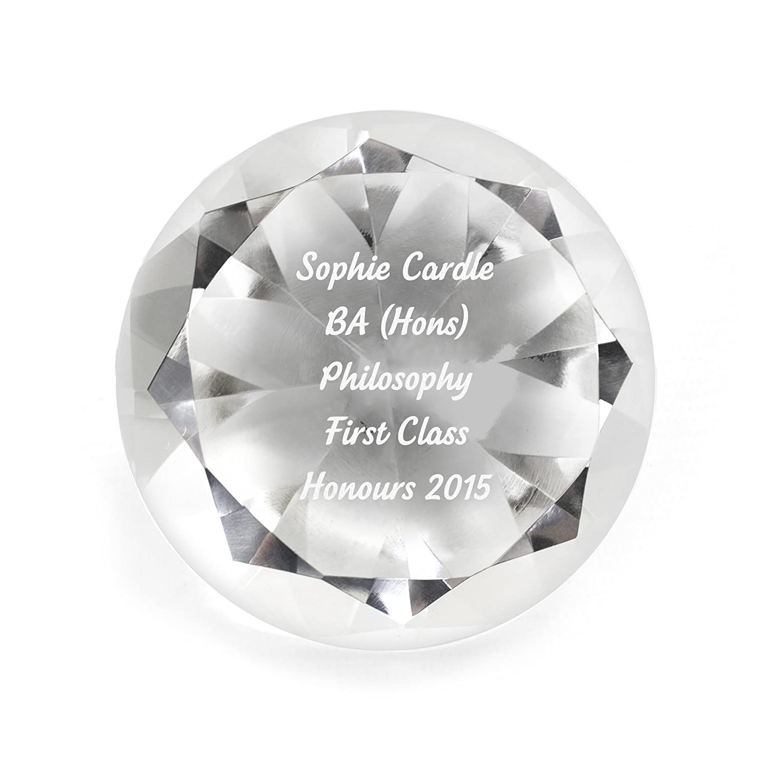 Personalised Red Crystal Glass Diamond Paperweight Engraved Wedding Gift