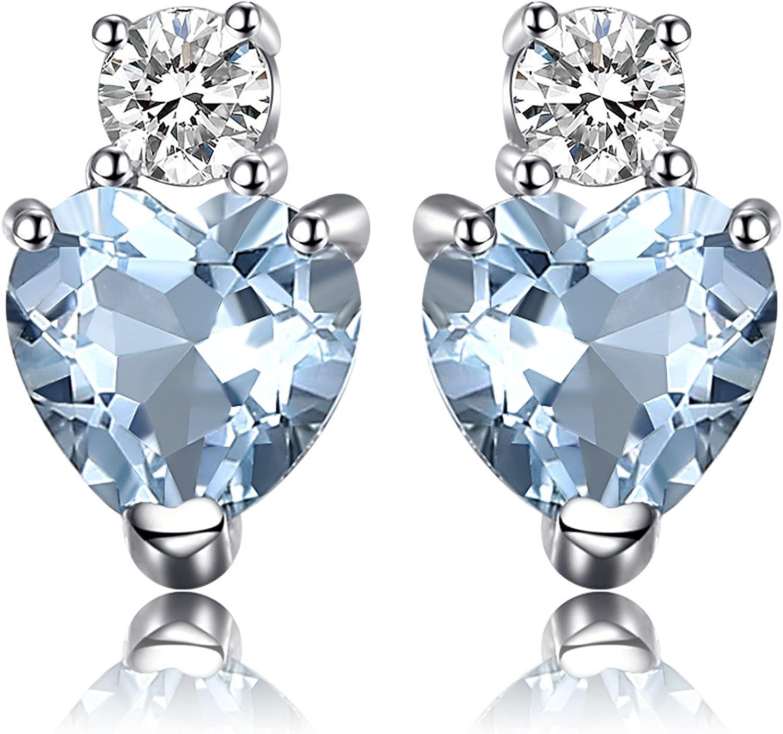 JewelryPalace Pendientes adornado con Aguamarina Natural topacio de boda Plata de ley 925