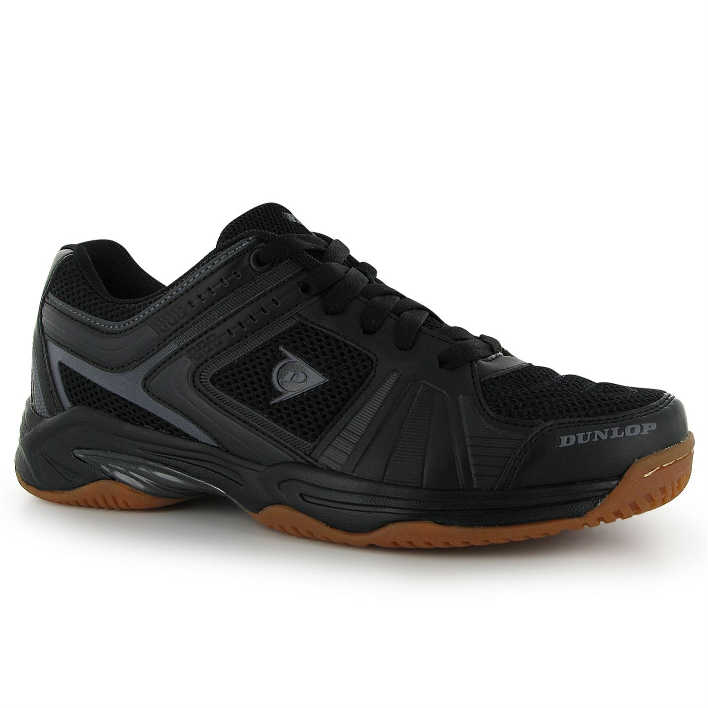 Dunlop Mens Indoor Squash Shoe Molded Non Marking Sole Footwear Brand New Black/Charcoal 12 (46)