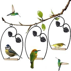 winemana Set of 3 Hummingbird Swings, Rust Resistant Metal Frame, Wooden Dowel, Attach to Bird Feeders, Perfect for Hanging Indoor Office Outdoor Trunk Lawn Patio Garden