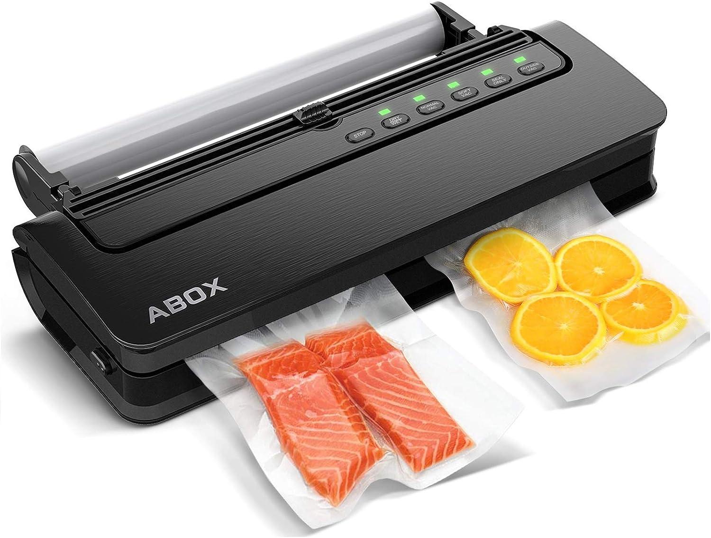 ABOX Envasadora al Vacío Profesional para Alimentos, V63 5 en 1 Máquina Selladora al Vacío Doméstico con Cortador, Automático Seco y Húmedo, Bolsas de Vacío y Tubo para Botes