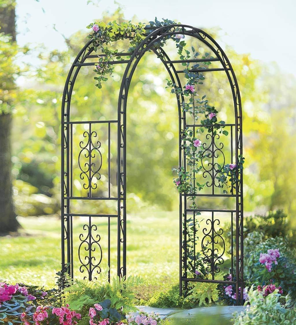 Montebello Decorative Iron Garden Arbor with 7-Inch Ground Stakes, 53 W x 23 D x 84 H Burnished Bronze Finish