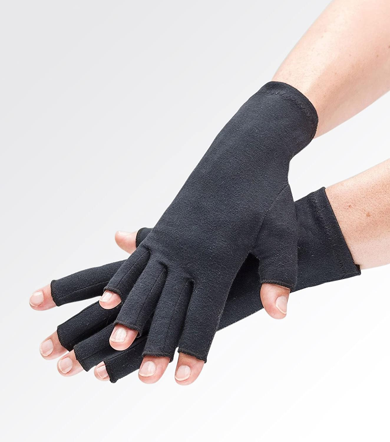 Amazon.com: Compression Gloves for Arthritis Pain Relief. Comfy Black Fingerless Gloves for Women or Men. Joint Support for Rheumatoid and Osteoarthritis, ...