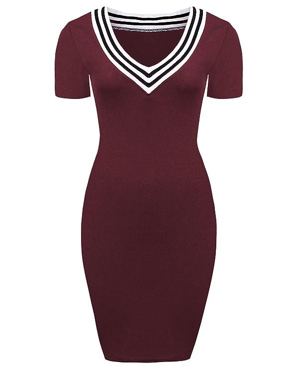 Yidarton Damen Minikleid V-Ausschnitt Kurzärmliges Stricken Freizeitkleid  Casual Elegant Kleid Bodycon Pullover: Amazon.de: Bekleidung