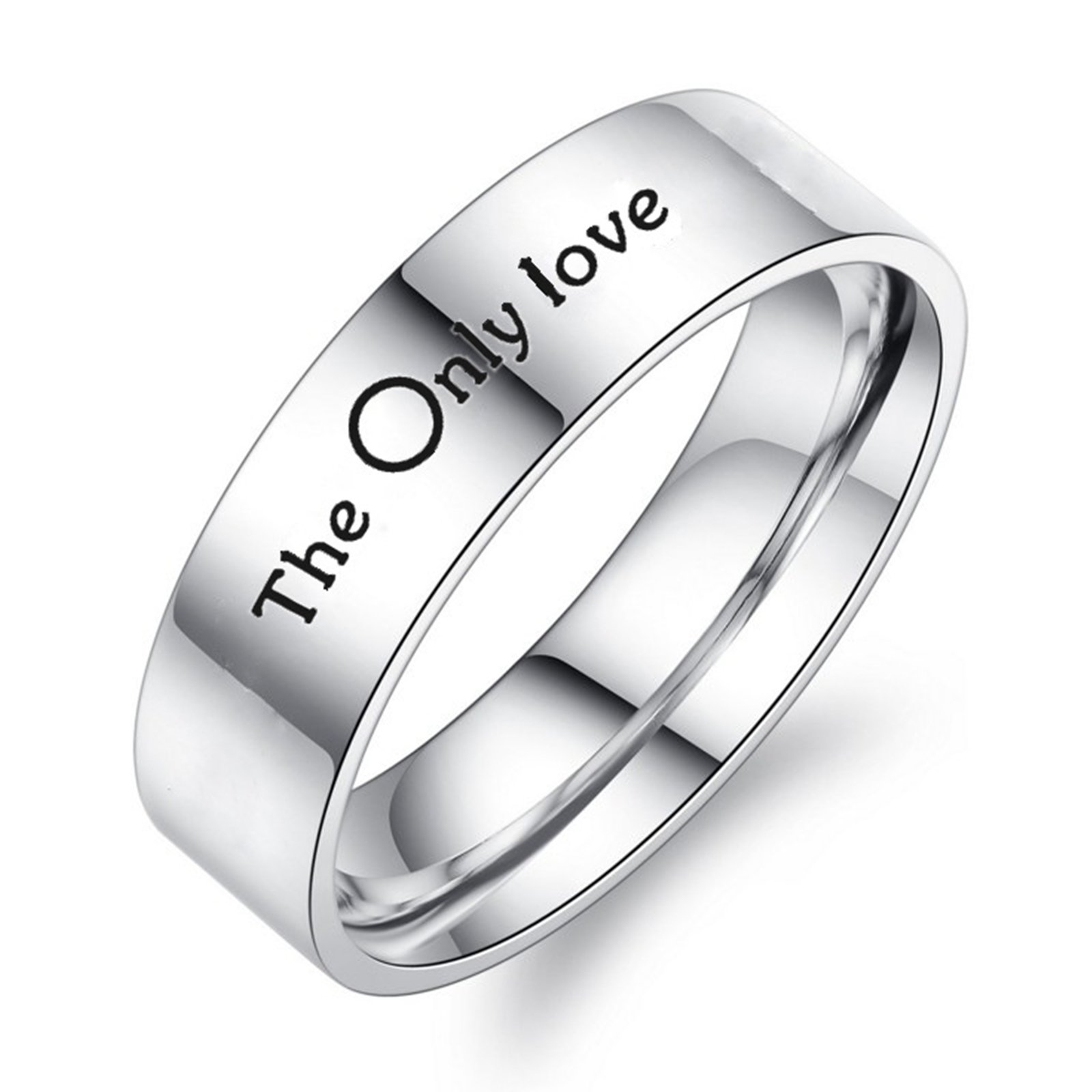 Daesar 1PCS Stainless Steel Rings Couple Ring Engraving The Only Love Ring Commitment To Personalized Silver Ring Size 10 by Daesar (Image #1)