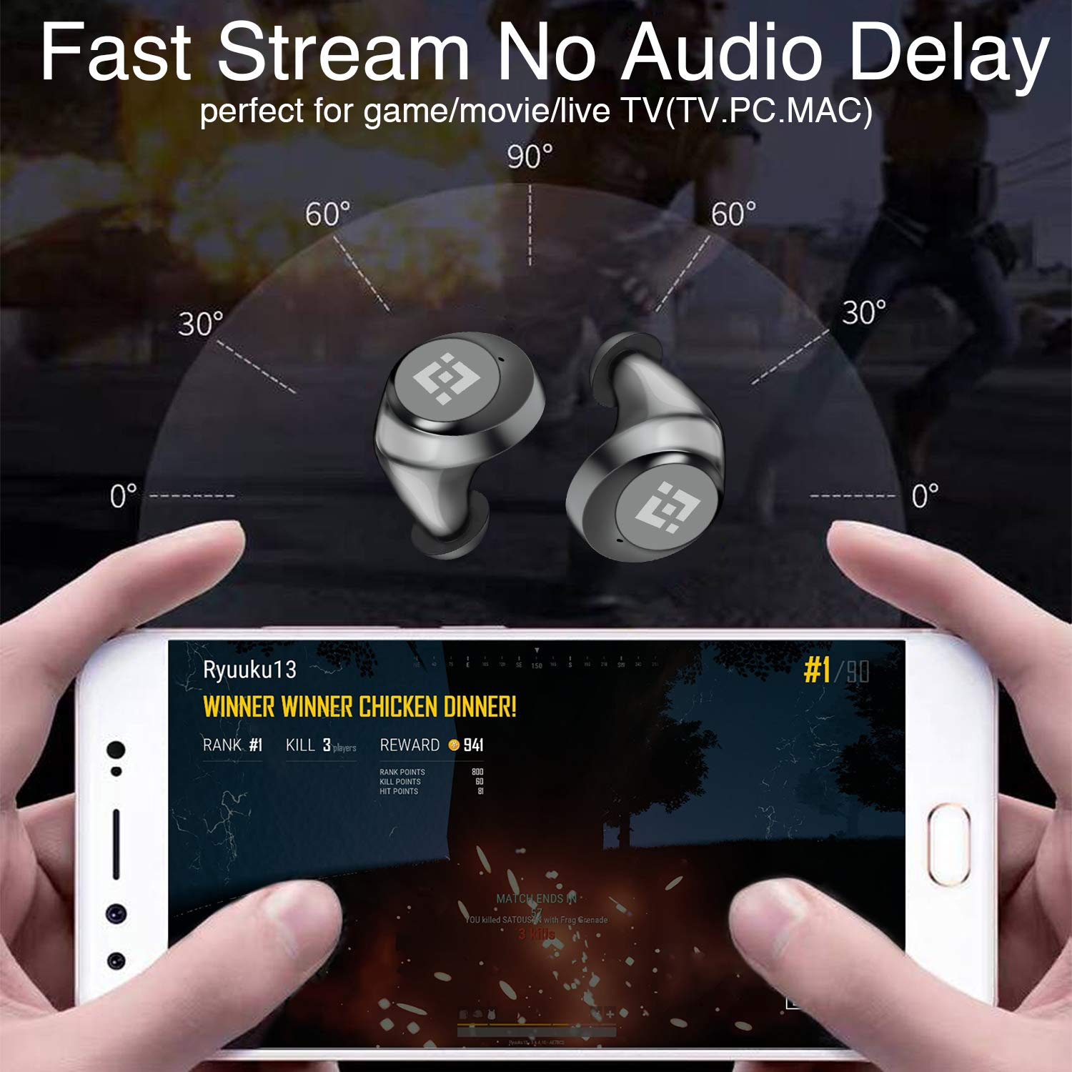 Wireless Earbuds 【Upgraded Graphene 3D Stereo Sound】 Bluetooth 5.0 with 28Hr Play Time Noise Cancelling HonShoop Lightweight Bluetooth Headphones Built-in Mic (Black) (Matte Black) by HonShoop (Image #4)