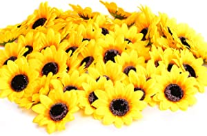 "KINWELL 50pcs Artificial Silk Yellow Sunflower Heads 2.8"" Fabric Floral for Home Decoration Wedding Decor, Bride Holding Flowers,Garden Craft Art Decor"